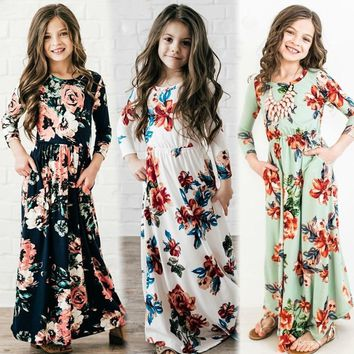 New Little Girl Clothes Infant Baby Girls Dress National Floral Print Kids Long Sleeve Dresses