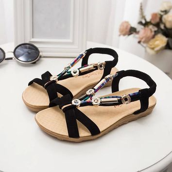 2019 Women's Sandals Spring Summer Ladies Beach Shoes Peep Toe Fashion Roman Flat Heel Sandal With Jewels Party Casual Flats