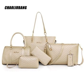 Leather Handbags Fashion Shoulder Bags Female Purse High Quality 6 Piece Set