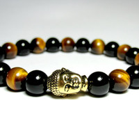 Black Onyx and Tiger Eye Buddha Bracelet, Beaded Bracelet, Mala Bracelet, Unisex Bracelet, Stretch Bracelet, Gemstone Bracelet
