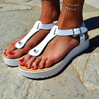 "Women Leather Sandal ""Roadtripper"", white sole sandals, genuine leather sandals, strappy sandals, Greek Sandals, T strap sandals"