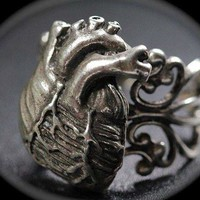 Anatomical Heart Ring Antique Silver
