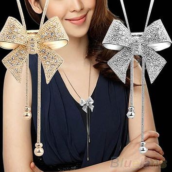 Sweet Crystal Bow Bowtie Pendant Necklace