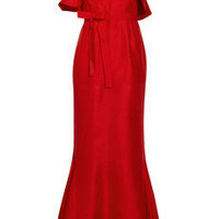 Rachel Gilbert Tash Long ruffled raw-silk one-shoulder gown - 60% Off Now at THE OUTNET