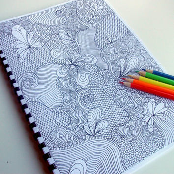 Instant Download Coloring Book, Zentangle Inspired, Extremely Intricate Printable, 12 Coloring Patterns, Zendoodles to Color