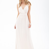 FOREVER 21 Surplice Chiffon Maxi Dress Sandshell