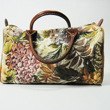 Vintage Tapestry Bag 80s Floral & Fruit Carpet Purse Tote Bag Festival Summer