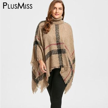 Plus Size 5XL Shawl Turtleneck Cape Sweater Women Winter 2017 Warm Kintted Shrug Poncho Loose Jumper Pullover Pull Femme