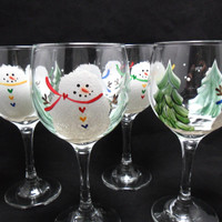 Snowman Wine Glasses Christmas Winter Hand Painted Set of 4