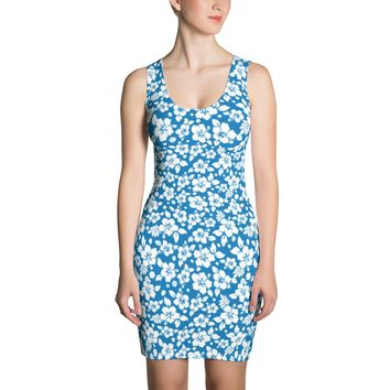 Hawaiian Tropical Hibiscus Blue and White Pattern Dress