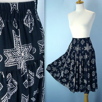 Southwestern Skirt / 80s Drop Waist Skirt / Black White Skirt / m