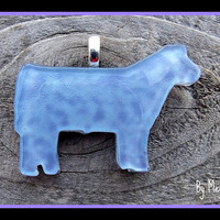 Show  steer/heifer hand painted art glass pendant