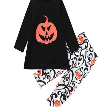 Newborn Baby Letter Romper Tops Pumpkin Prin Pants Cap Halloween Clothes Sets Abbigliamento per bambini Casual wear