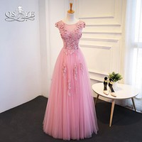 Vintage Pink Long Prom Dresses 2018 3D Floral Flower Lace Applique Floor Length Tulle Formal Evening Dress Party Gown