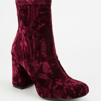 MIA GIRL Crushed Velvet Womens Boots