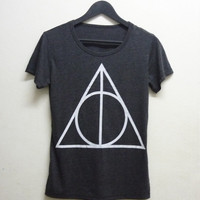 Deathly Hallows shirt Harry Potter clothing Teen Short sleeve tshirt size S M L XL dark grey Triangle Deathly Hallows shirt Harry Potter