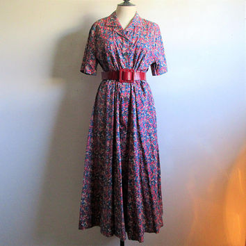 Vintage 90s LIBERTY Summer Dress Navy Blue Red Whiltshire Berry Tana Lawn Floral 1990s Dress 16UK