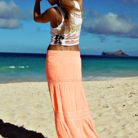 Rosemary maxi skirt in neon coral