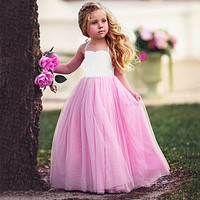 Cotton Sleeveless Mesh Formal Girls Dress Baby Girls Princess Pink Dress for Wedding Party Cloths Sweet Girls Costume For 1-6Y