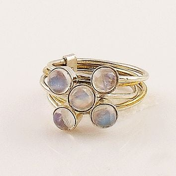 Moonstone Two Tone Sterling Silver Stack Ring