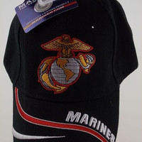 US Marines Few Proud Eagle Globe Baseball Cap Hat Black Embroidered Adjustable