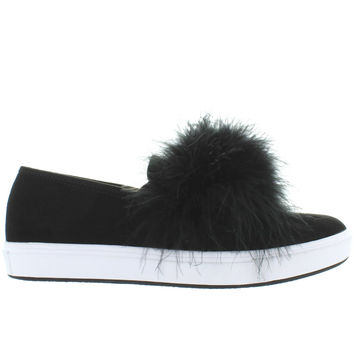 Steve Madden Emily - Black Suede Feather Pom-Pom Slip-On Sneaker