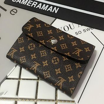 LV Louis Vuitton Trending Women Men Stylish Leather Monogram Canvas Multiple Bank Card Pack Certificate Holster Card Set Credit Card Holder Card Package Coffee LV Print I12550-1