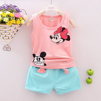 New Arrival Summer style 2PCS Toddler Kids Baby Girls Minnie Outfits Children Sets Sleeveless shirt Tops + Shorts Clothes Set