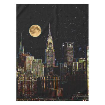 New York Skyline At Night With Full Moon Tablecloth