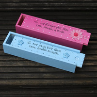 Personalised wooden pencil boxes for Flower girls or page boys