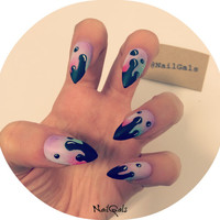 Unique Funky Matte Dripping Stiletto Nails Set - nail art - nail design - false nails - fake nails - acrylic nails