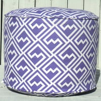 "Geometric pouf ottoman in lavender and white, round 18"" pouf abstract pattern, floor cushion for nursery room decor, baby girl gift idea"