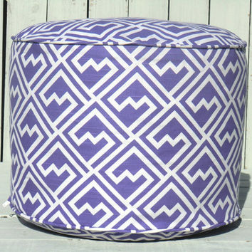 """Geometric pouf ottoman in lavender and white, round 18"""" pouf abstract pattern, floor cushion for nursery room decor, baby girl gift idea"""