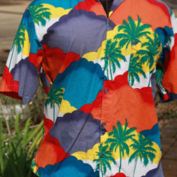 Men's Hawaiian Aloha Tropical Colorful Palm Trees RSR Size M