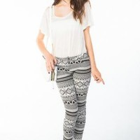 Black & White Tribal Print Skinny Jean