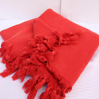 Red Handwoven Blanket Stonewashed Blanket Pure Cotton Blanket EXPRESS SHiPPiNG Via UPS Couch Protector Twin Bed Coverlet