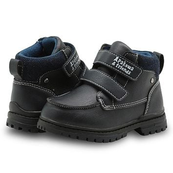 Boys Shoes Spring Autumn Children's Shoes Solid Pu Leather Kids Boots Flat Ankle Boots for Toddler Boys