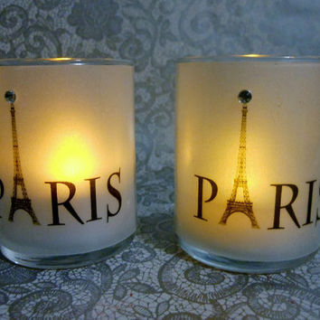Set of 10 Small Paris Eiffel Tower Label Votive Candle Holders With Flameless Candles