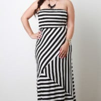Women's Asymmetrical Stripe Strapless Maxi Dress In Plus Sizes