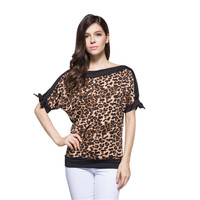 2016 New Fashion Summer Women T-shirt Sexy Leopard Print Women tops Casual Loose Batwing Sleeve Harajuku Women Clothing