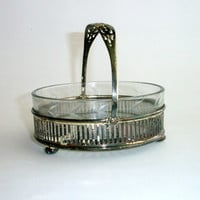 Vintage Silver and Glass Serving Bowl with Handle, Basket, Candy Dish, Nickel Silver, E.& J. Bass, Flower Etched Glass Bowl, Serving Dish