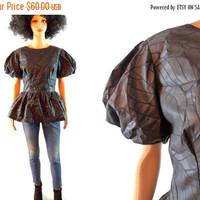 tEMPSALE Black African Wax Print Blouse Peplum Puff Sleeve Top Formal Avant Garde Africa Shirt Flare V Button Back Ethnic Animal Print Skin