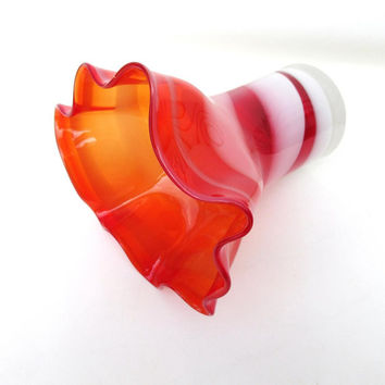 Vintage Opalescent Glass Vase / Cranberry Art Glass Vase / Peppermint Swirl Vase, Candy Stripe Hand Blown Glass