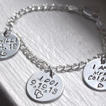 I Will, I Do, I Am Sterling Silver Charm Bracelet for Bride