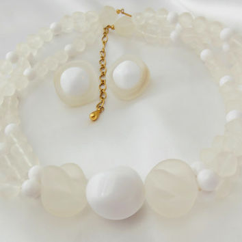 AVON Necklace and Earring set Frosted Triple Strand Sheer Style