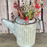 Vintage rustic galvanized watering can, primitive farmhouse porch decor, large metal oil can / watering can great for floral displays, CHIC