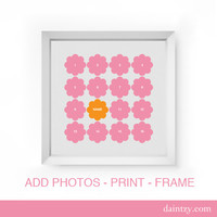 Digital Flower Photo Collage Template Storyboard Scrapbooking Photo Board for Baby or Family Photographers Photoshop PSD Scrapbook Template