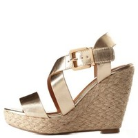 Strappy Metallic Espadrille Wedge Sandals by Charlotte Russe