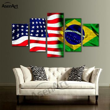 5 Panel Canvas Art Flag of the United States and Brazil Painting Prints on Canvas Wall Art Picture Home Decoration Ready to Hang