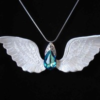 Beautiful Blue Angel Wing pendant with Swarovski Crystal